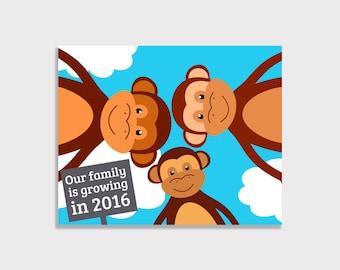 Baby Announcement! - Monkeys - 8x10 Print