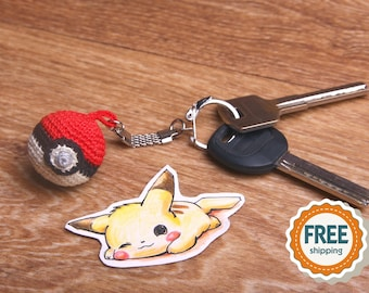 Crochet Pokeball keychain Amigurumi,  Handmade Pokemon Pokeball, Pokemon go Pokeball, Tiny, Miniature