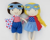 Nautical superhero dolls - toddler gift, sailor rag dolls for nautical themed kids room, ideal gift for kids, twins