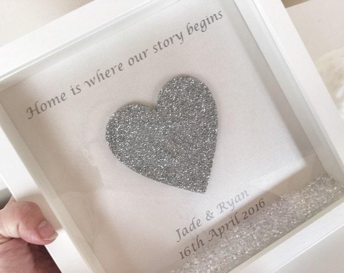 Glitter heart personalised frame