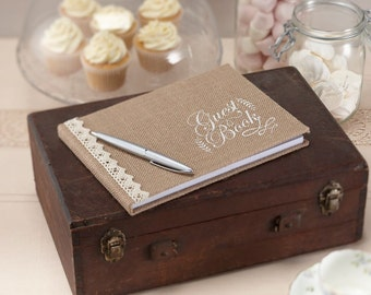 Guest Book | Wedding Guest Book | Vintage Style Guest Book | Hessian Guest Book