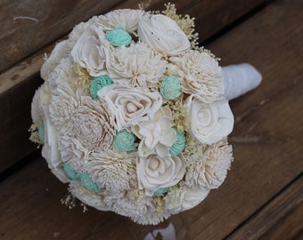 Cream and Mint bouquet, bridal bouquet, wedding bouquet, sola bouquet, wedding flowers, elegant wedding, rustic wedding