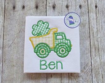 Personalized St. Patrick's Day Shirt with Applique Dump Truck & Name - Boys St. Patrick's Day Shirt - Boys Dump Truck Shirt - Boys Shirt