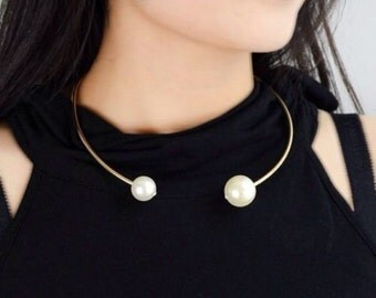 Gold Torque White Pearl Bead Choker Bib Statement Necklace
