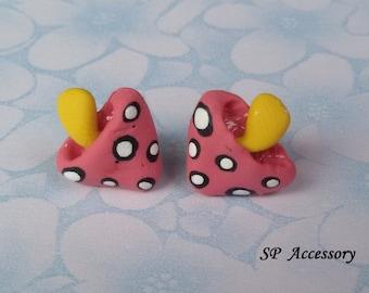 mushroom earrings, clay stud, pink earrings, clay earrings, earrings clay