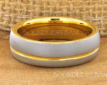 Tungsten Ring Yellow Gold Wedding Band Ring Tungsten Carbide 7mm 18K Tungsten Ring Man Wedding Band Male Women Anniversary Matching Ring New