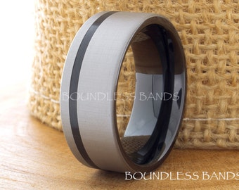 Black Tungsten Wedding Band Brushed Pipe Cut 9mm Mens Anniversary Ring Black Wedding Band His Hers Promise Ring Comfort Fit Free Engraving