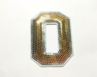 Alphabet Letter O Iron on Patch - Gold Sequin O, Glitter Applique Embroidered Iron on Patch - Size 5.5x7.3 cm#T2