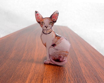 Sphynx cat brooch FREE SHIPPING Sphynx cat pin Animal brooch animal jewelry, Sphynx cat jewelry, cat Sphynx clay cat  handsome cat Sphinx.
