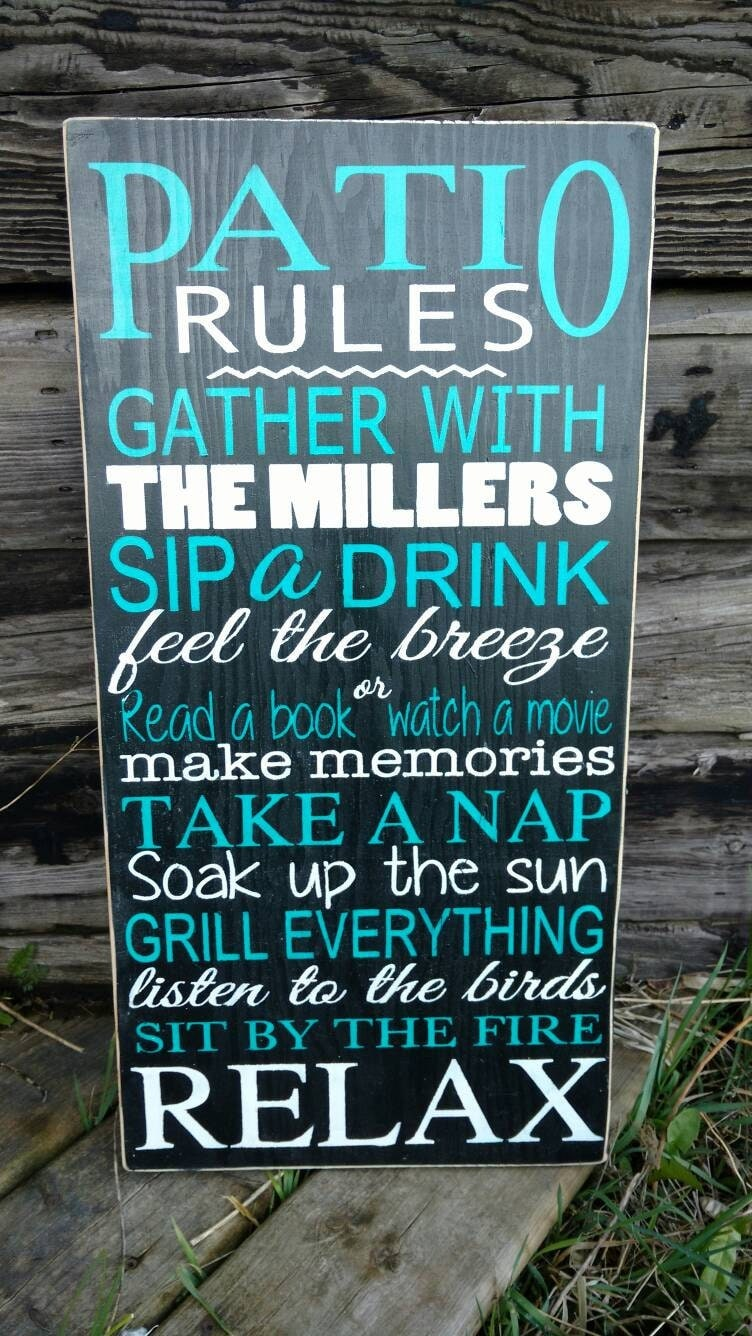 Patio rules sign personalized deck sign wooden sign for Outdoor decorative signs