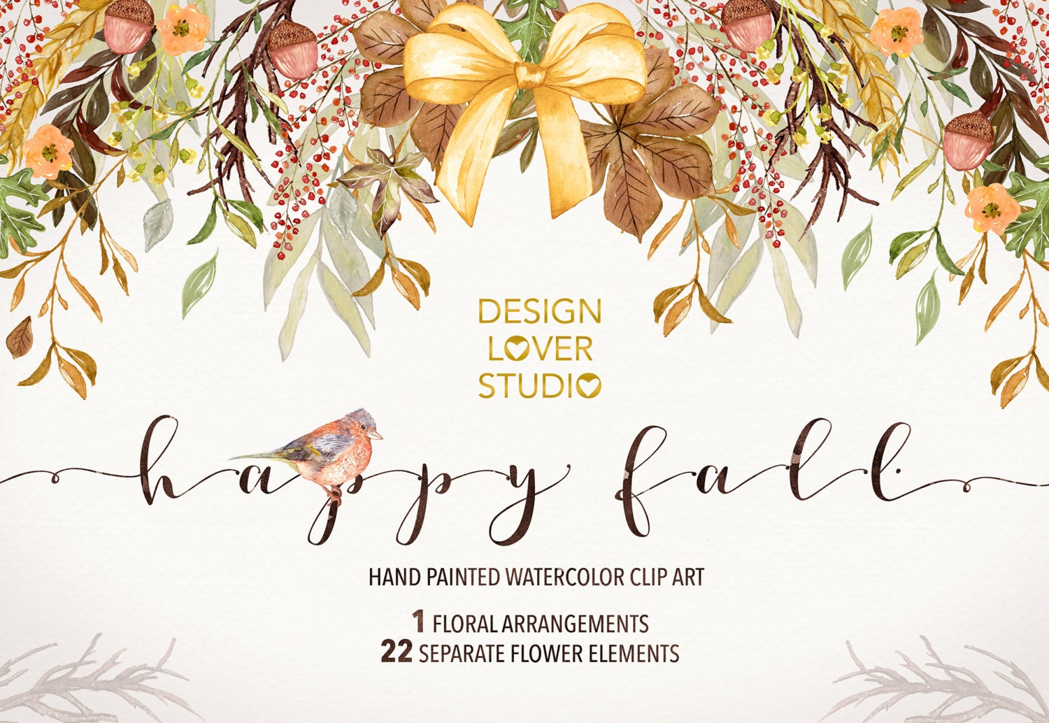 Watercolor Happy Fall Clip Arts Autumn Leaves