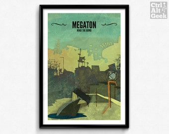 Megaton // Fallout 3 Poster, Fallout Print, Video Game Art, Gamer Print, Fallout Art, Game Decor, Travel Poster