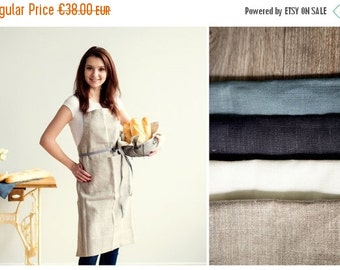 SALE 15% OFF Full Apron With Two Pockets - Natural linen apron - Gift for her