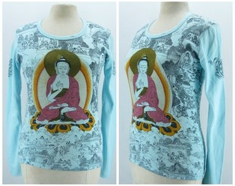 Vintage 70s top, 1970s hippie tshirt, long sleeve cotton tshirt, buddha top