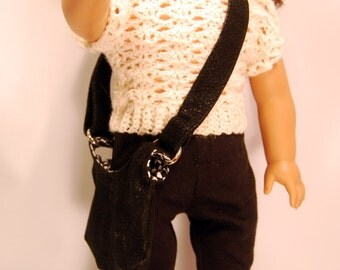 American Girl Doll Clothes, AGD Clothes, 18 inch Doll Clothes, Doll Clothes, Doll Purse and Shoes, Hobo Purse, Slip-on shoes, Black Purse