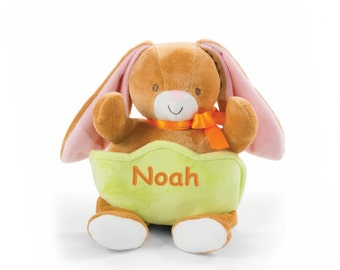 Personalized Plush Easter Bunny with Pocket - 10 Inch