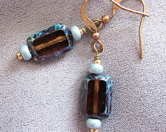 Turquoise and Brown Czech Glass Bead Earrings//Dangles