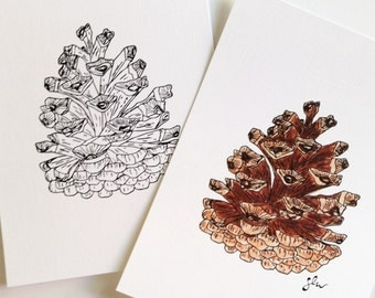 Pinecone Line Drawing, B+W or Color - Digital Download