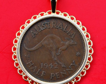 1942 Australia Half Penny Coin Gold Plated Necklace NEW - Kangaroo