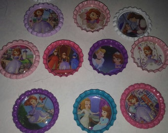 Sophia The First bottle cap magnets Disney junior cupcake toppers refrigerator
