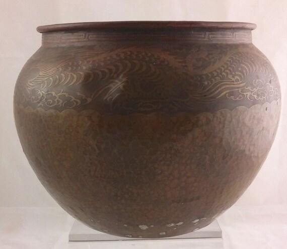 vintage chinesischer metall ware kupfer kupfer vase. Black Bedroom Furniture Sets. Home Design Ideas