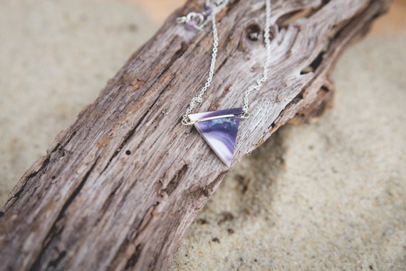 """wampum triangle necklace on sterling silver chain 18"""" handmade on martha's vineyard"""