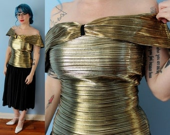 Vintage Shine Gold Lame Evening Dress // 1970's Metallic Party Dress Off Shoulder Pleated Skirt // A La Carte Size 7/8 Party Prom Formal