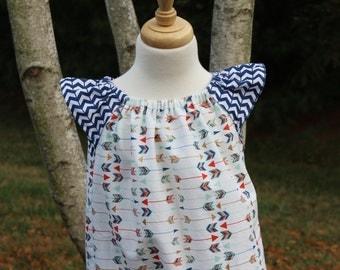 Little Girls Flutter Sleeve Peasant Dress, Little Girls Arrow Peasant Dress with Flutter Sleeves, Arrow Dress, Spring Dress