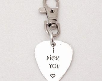guitar pick key ring etsy uk. Black Bedroom Furniture Sets. Home Design Ideas