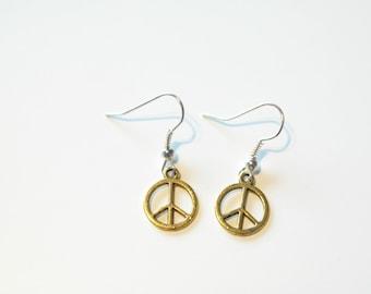 Gold & silver peace earrings