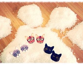 Geek earrings Cats / Cats Geek earrings