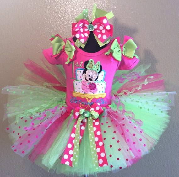3 Pc Baby Minnie Mouse Birthday Cake Hot Pink And Lime Tutu
