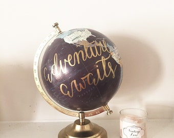 Home Decor Gifts lifeway christian gifts home decor wall art Adventure Awaits Hand Lettered Globe Guestbook Globe Custom Globe Home Decor Wedding Decor Gifts For Her Wedding Gift Bridal Shower