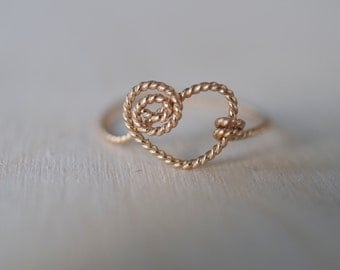 14K gold filled wire heart ring