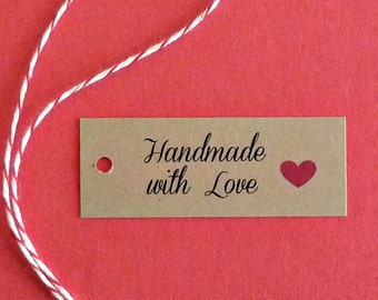 50 mini tags price tags free US shipping kraft paper w twine gift tags jewelry tags hang tags Handmade with love tags supplies product tags