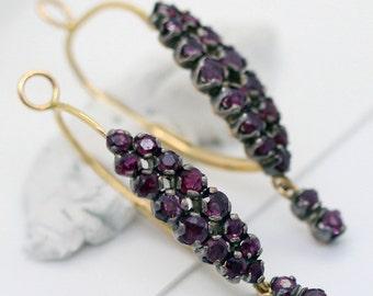 Antique Vintage Poissarde Hoop Earrings 18k Gold, Silver, Rubies French (#6019)