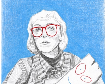 Log Lady and Plank Illustration Print