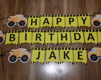 Construction Custom Made Happy Birthday & 'Name' Bunting Banner Set