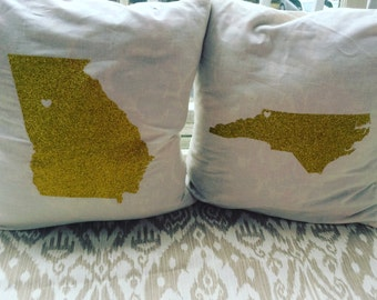 State Silhouette Pillow