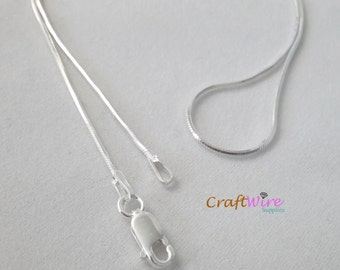 "925 Sterling Silver Seamed Eight-Sided Snake Chain Necklace, ITALY 1.0mm 16"", 18"", 20"", 24"", Lobster Clasp, Shine and Beautiful"