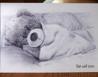 Personalised get well soon card. Cute teddy bear image.