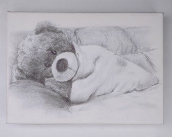 Cute teddy bear sketch art canvas print.