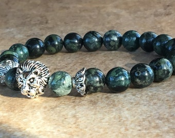 Mens Lion Bracelet,Green Lion Bracelet,Rhyolite Gemstone,Male Jewelry, Leo Lion Bracelet,Silver Lion Head,Lion King Gemstone,Gift for Him