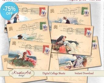 75% OFF SALE Seaside romance - Digital Collage Sheet Digital Cards C174 Printable Download Image Digital Summer Atc Card ACEO Seaside Cards
