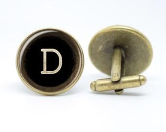Monogrammed Typewriter Cufflinks Vintage inspired Men's Bronze or Silver Initials 20mm Wedding Cufflinks Groomsmen Cufflinks