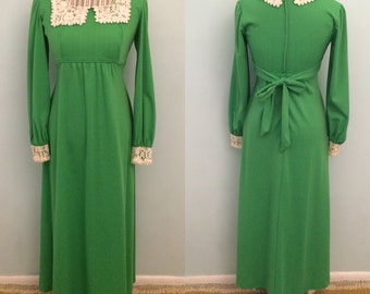 60's green maxi dress small