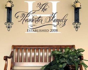Custom Entry Family Name Vinyl Wall Decal