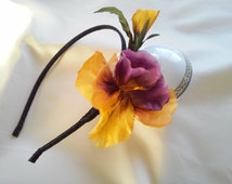 """Headband  """"Pansy"""". Silk pansy flower. Headband for girl. Floral crown. Wedding headpiece.  Unique bridal accessories for Summer wedding."""