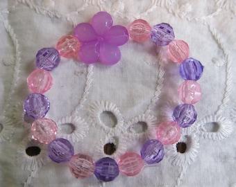 Flower Beaded Stretch Bracelet/ Birthday Gift/ Kids Bracelets/ Girls Bracelet/ Beaded Bracelets/ Flower Bracelets/ Gifts for Her