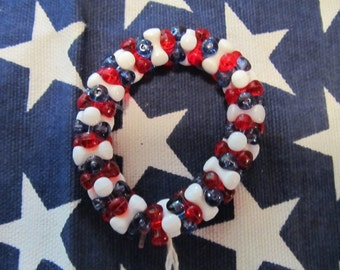 Fourth of July Patriotic Bone Bead Stretch Bracelet,Patriotic Bracelet, Girls Bracelet, Kids Bracelet, Gifts for her, Gifts for girls